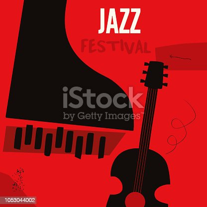 Music background with music instruments flat vector illustration. Artistic music festival poster, live concert, listening to music, creative design with guitar and piano. Party flyer