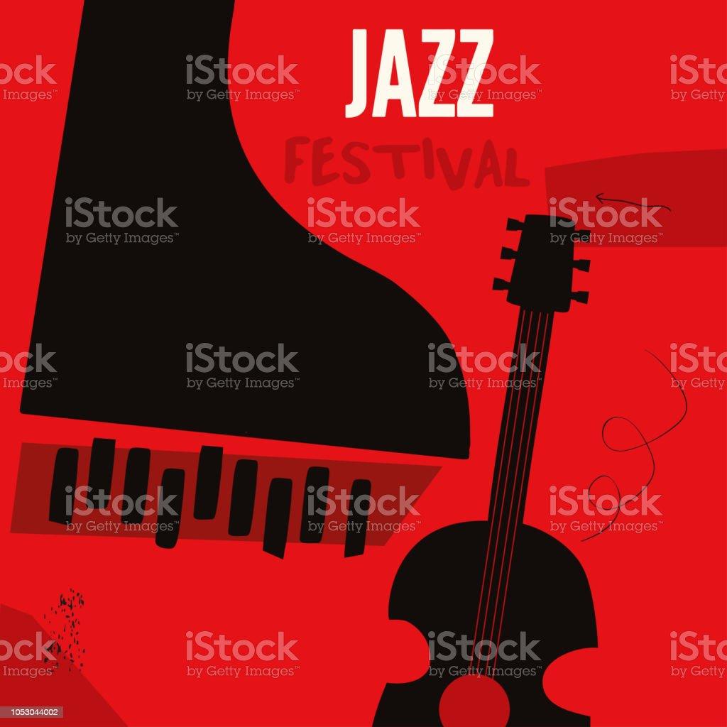 Müzik arka plan ile müzik aletler vektör sanat illüstrasyonu