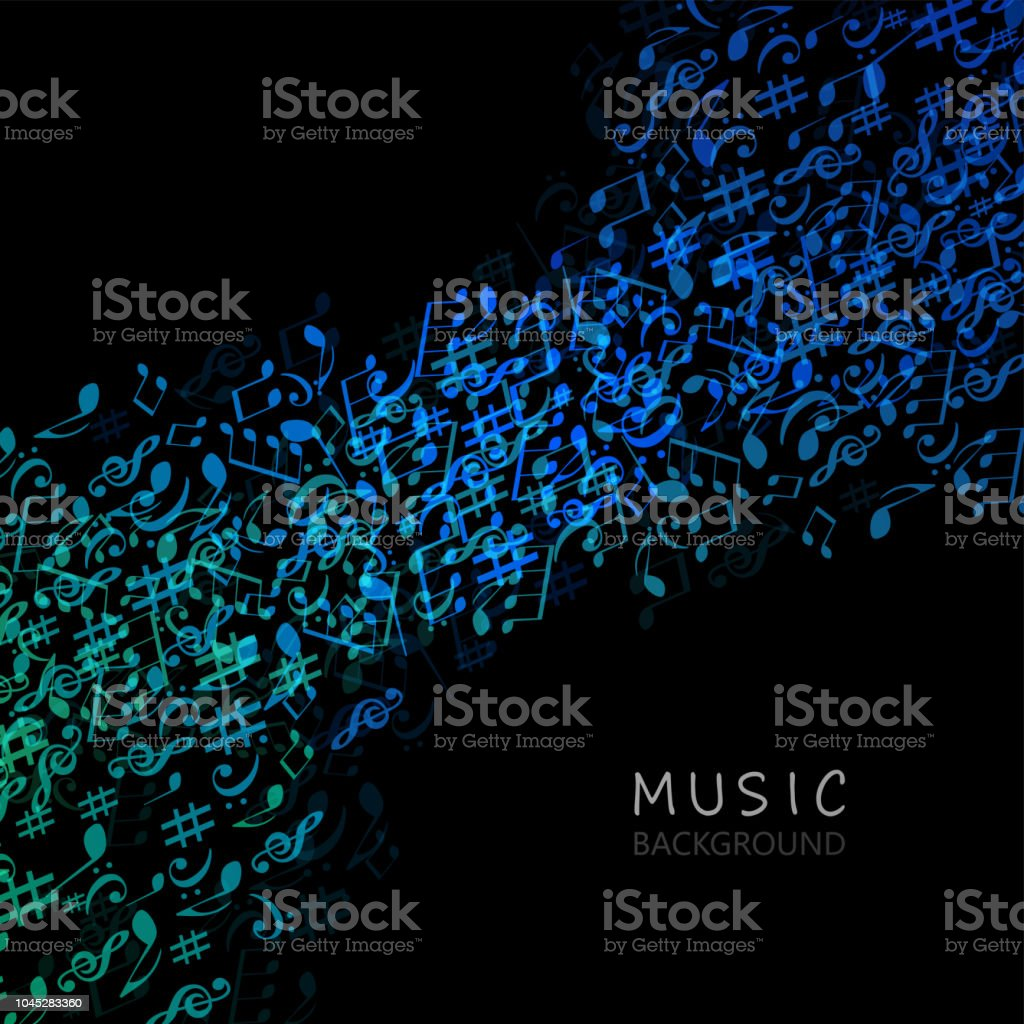 Music background with music notes vector art illustration