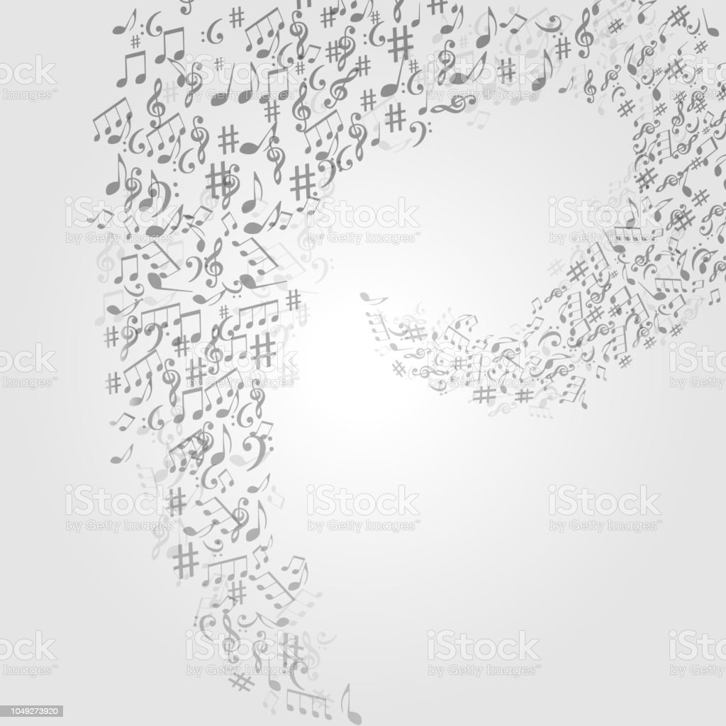 Music background with music notes and G-clef vector illustration...
