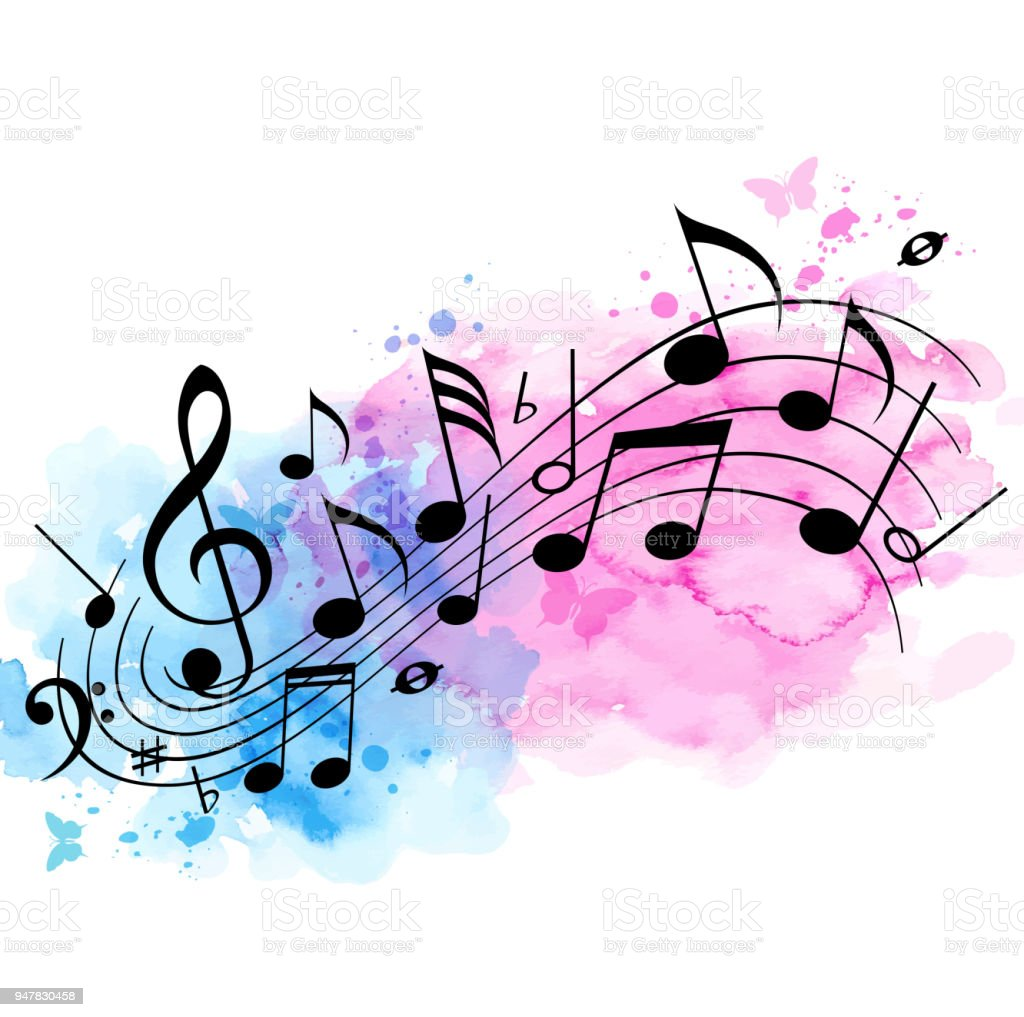 Music Background With Notes And Watercolor Texture Stock Illustration -  Download Image Now - iStock