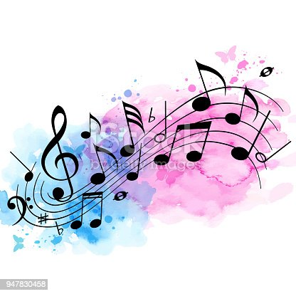 istock Music background with notes and watercolor texture 947830458