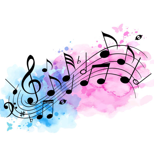 Music background with notes and watercolor texture vector art illustration