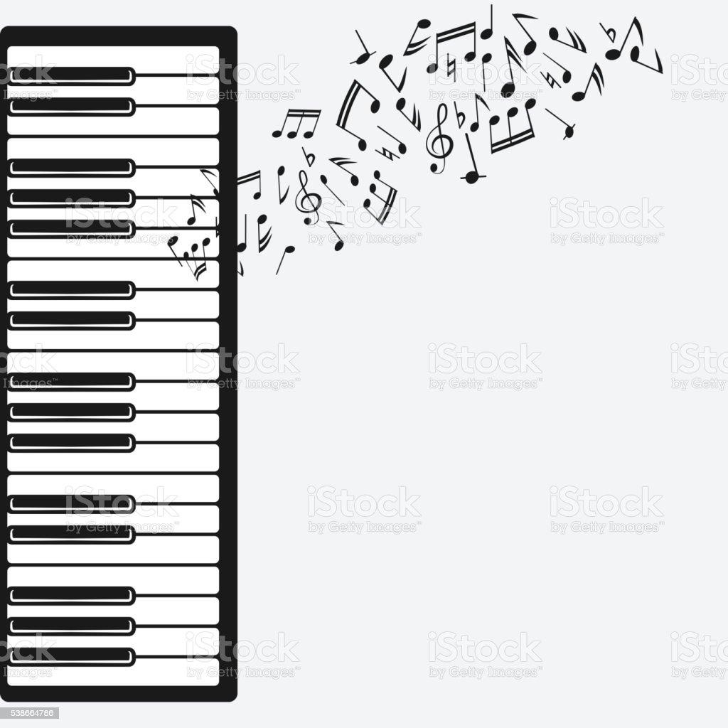Fondo de música con piano - ilustración de arte vectorial