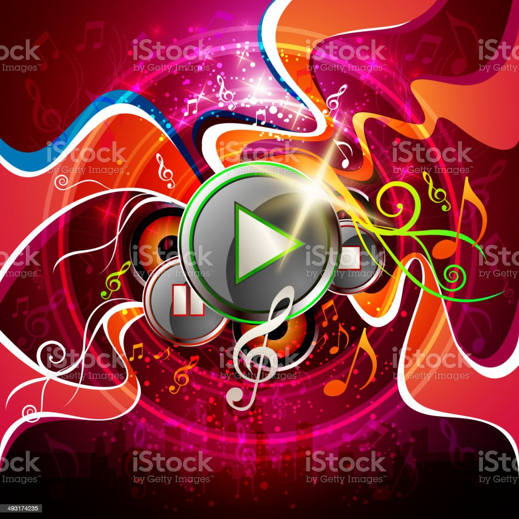 Music Background with Swirls and Buttons royalty-free music background with swirls and buttons stock vector art & more images of arts culture and entertainment