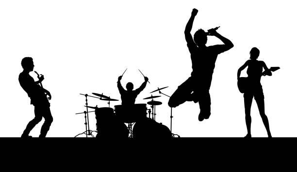 illustrazioni stock, clip art, cartoni animati e icone di tendenza di music band concert silhouettes - concerto