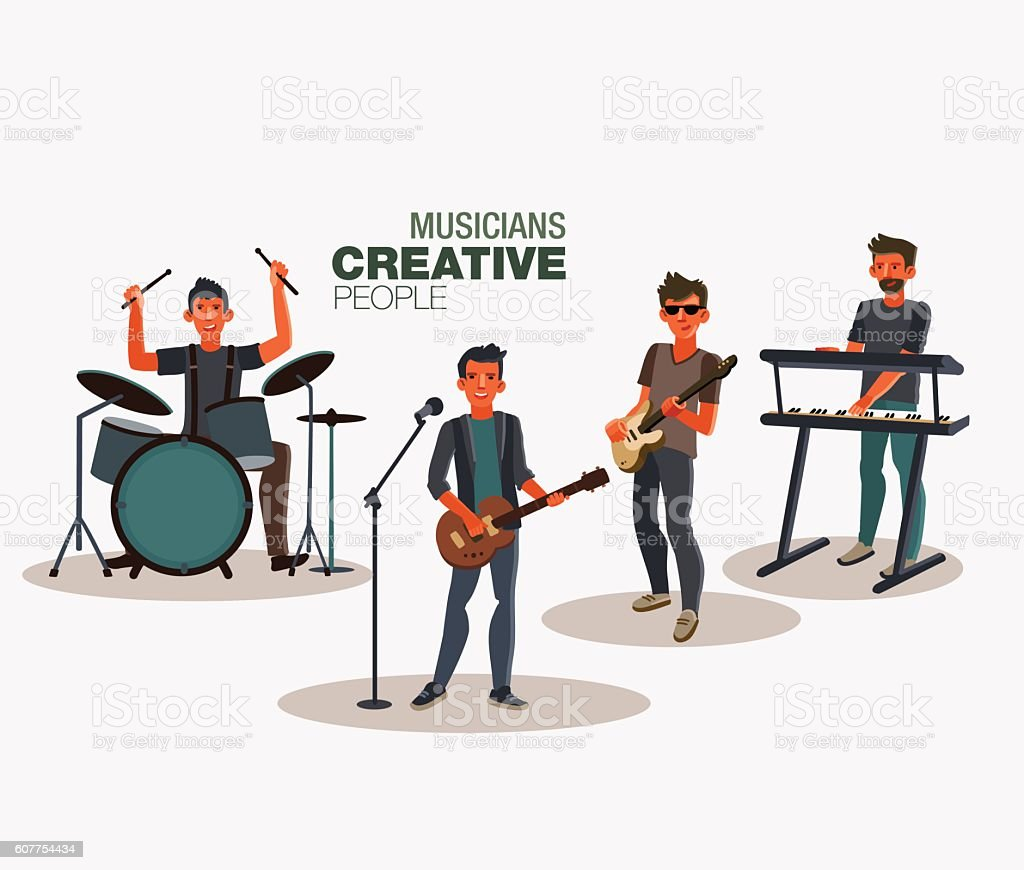 Music band. Group of young rock musician ベクターアートイラスト