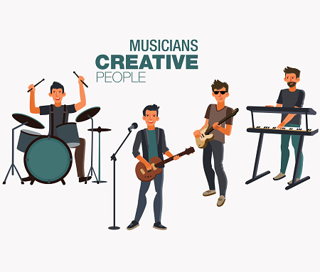 Music band. Group of young rock musician