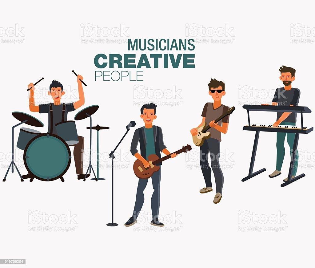 Groupe de musique. Groupe de jeune Musicien de rock - Illustration vectorielle