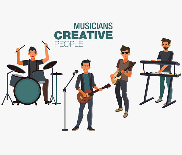 Music band. Group of young rock musician vector art illustration