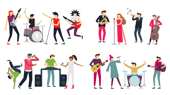 Music band. Jazz blues, punk rock and indie pop bands. Metal guitarist, drummer and rap singer isolated musicians vector set