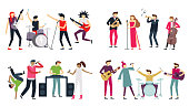 Music band. Jazz blues, punk rock and indie pop bands. Metal guitarist, drummer and rap singer isolated musicians, choir quartet concert. Singing or playing people flat vector icons set