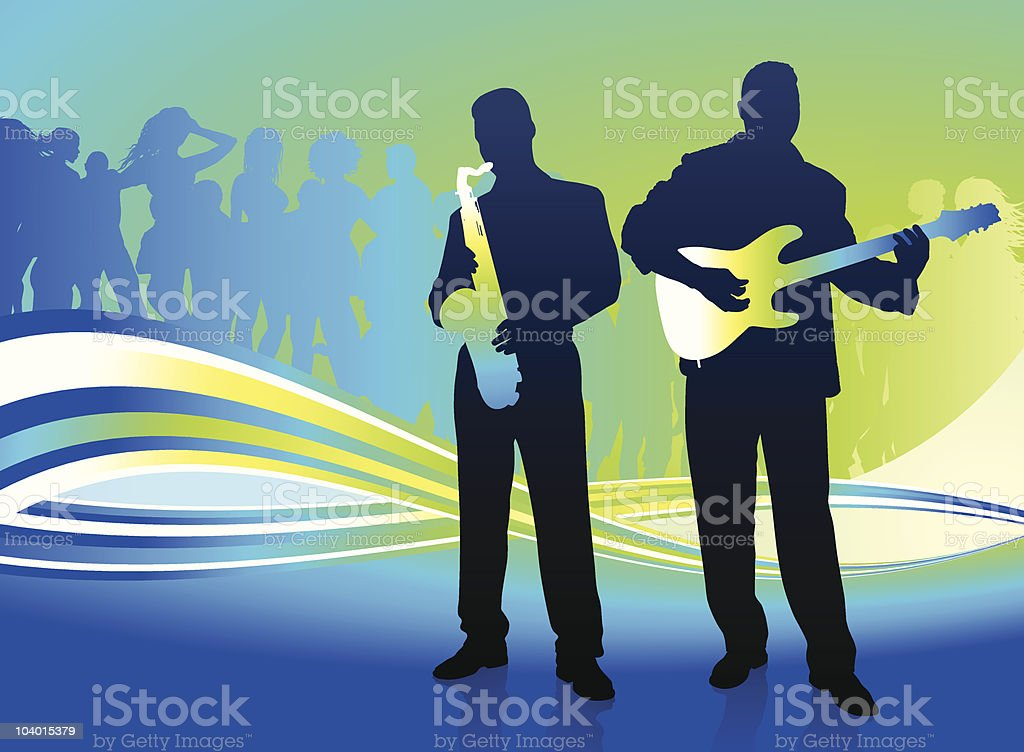 music band on abstract internet background with crowd royalty-free music band on abstract internet background with crowd stock vector art & more images of acoustic guitar