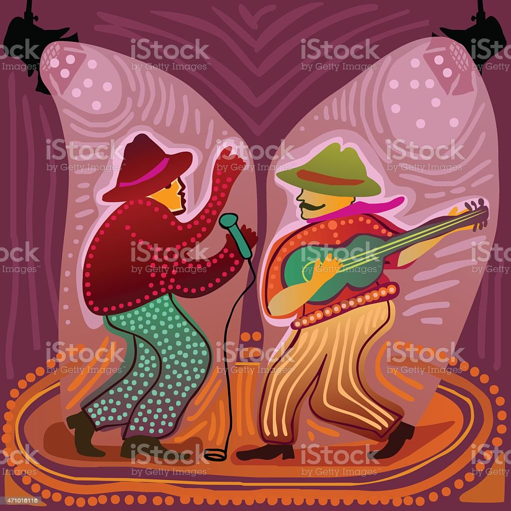 music band performs on stage vector art illustration