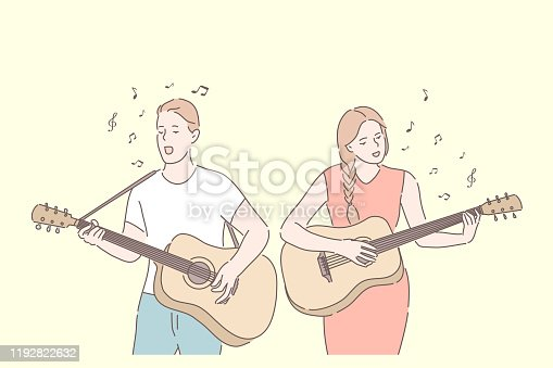 istock Music band, playing guitar, duet singing concept 1192822632