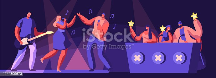 Music Band Take Part in Talents Show. Artists Characters Sing and Play Guitar on Stage in Front of Judges Holding Gold Stars in Hands Cartoon Flat Vector Illustration. Cartoon Flat Vector Illustration