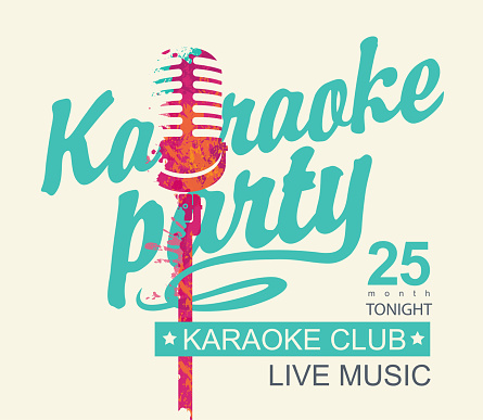 music banner for karaoke party with a microphone