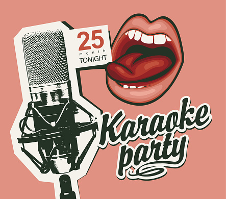music banner for karaoke party with mic and mouth
