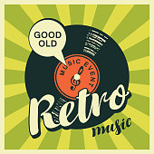 Vector poster or banner with calligraphy lettering Retro music and vinyl record in retro style on a background with bright rays. Good old