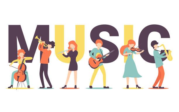 music big text vector art illustration