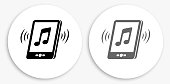 Music Black and White Round Icon. This 100% royalty free vector illustration is featuring a round button with a drop shadow and the main icon is depicted in black and in grey for a roll-over effect.