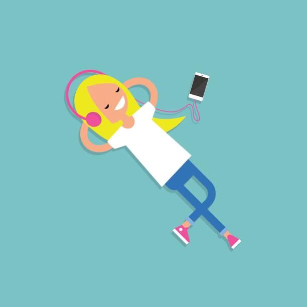 音楽ブロンドの女の子 - ゲーム ヘッドフォン点のイラスト素材/クリップアート素材/マンガ素材/アイコン素材