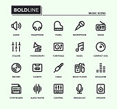 Music Bold Line Icons Vector EPS 10 File, Pixel Perfect Icons.