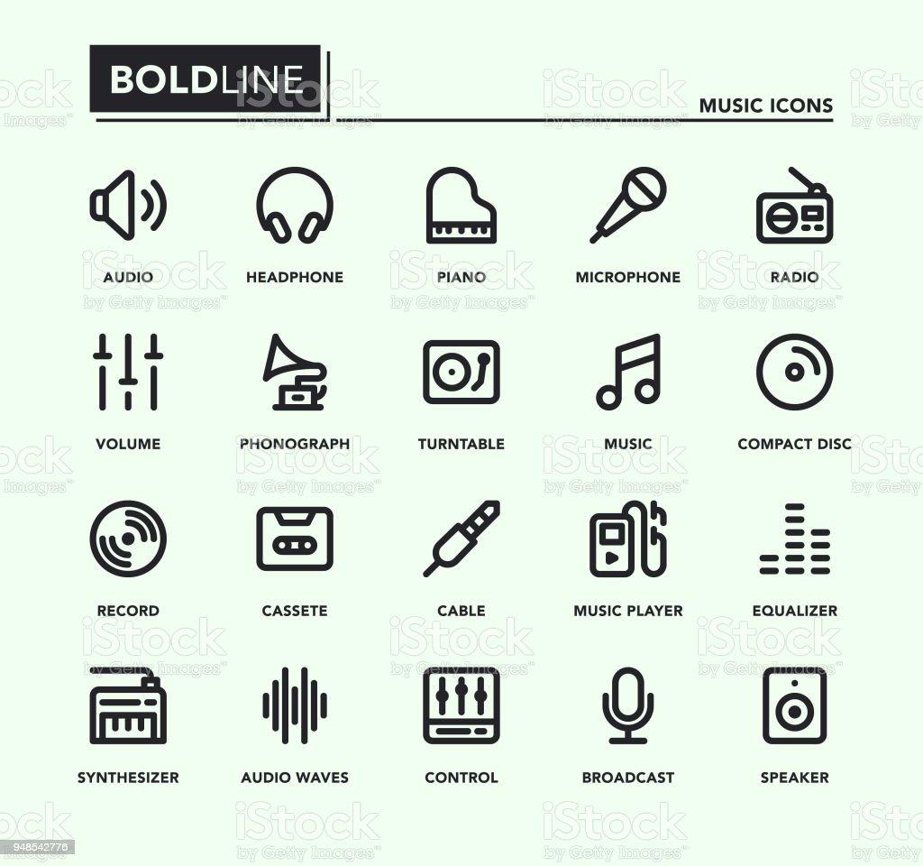 Music Bold Line Icons vector art illustration