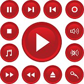 music button icon set