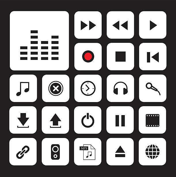 bildbanksillustrationer, clip art samt tecknat material och ikoner med music button icon set - chain studio