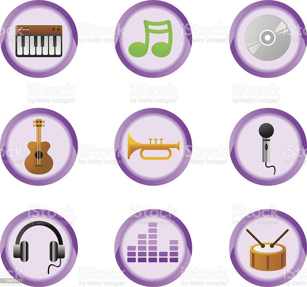 music buttons royalty-free stock vector art