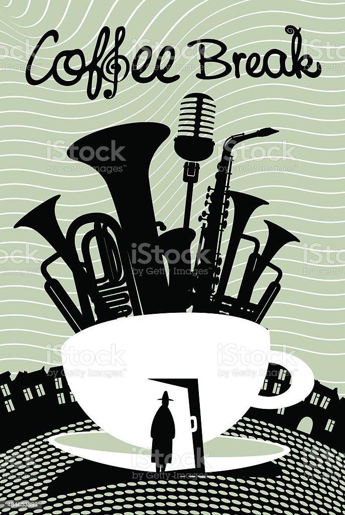 music cafe vector art illustration