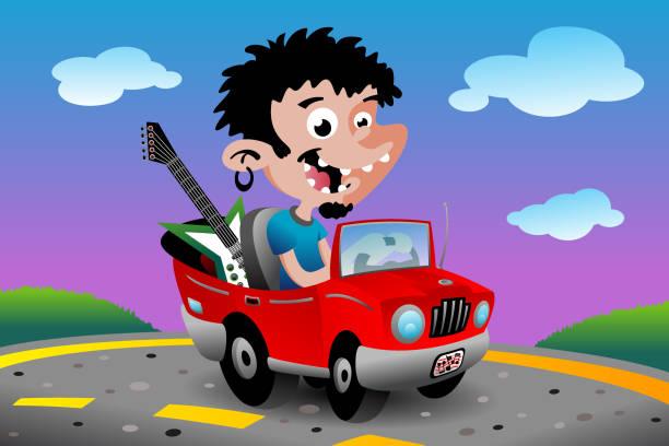 Music Car vector art illustration