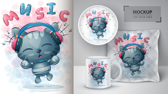 Music cat poster and merchandising