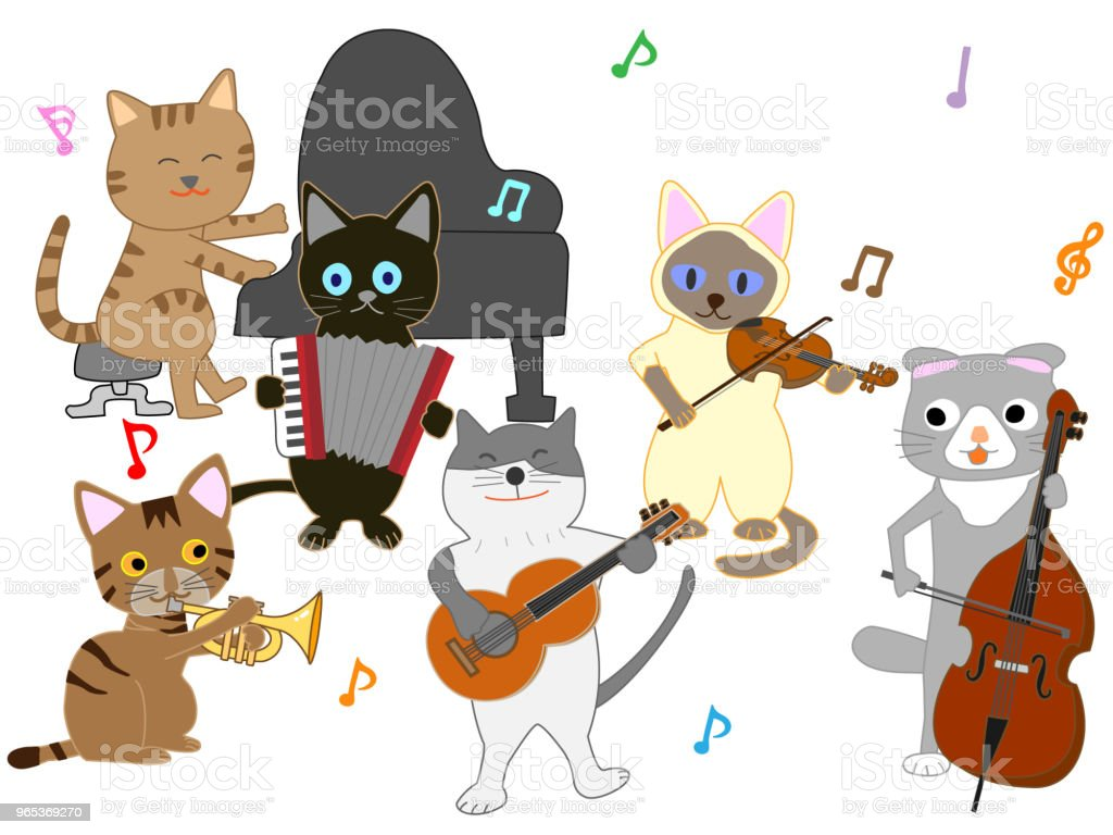 music cat royalty-free music cat stock illustration - download image now