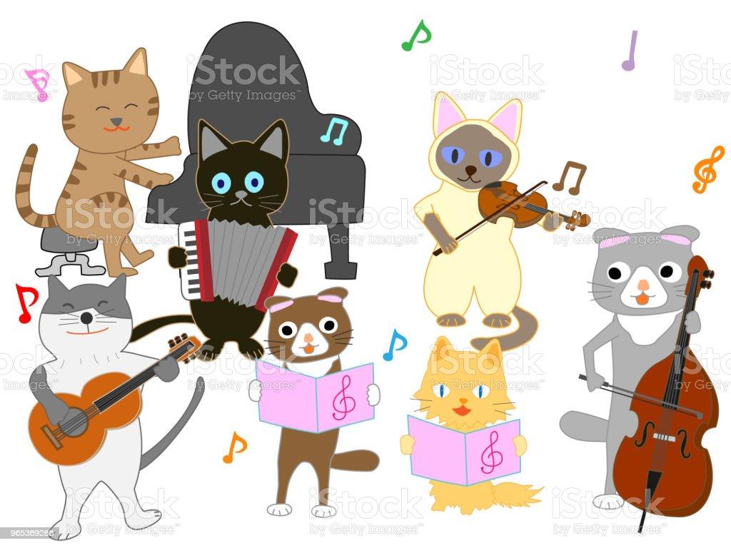 chat musique - clipart vectoriel de Animaux de compagnie libre de droits