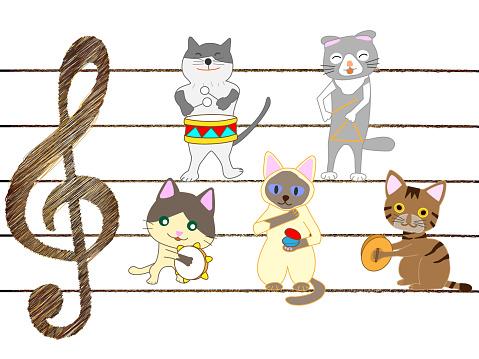 Muziek Kat Stockvectorkunst en meer beelden van Blaasinstrument