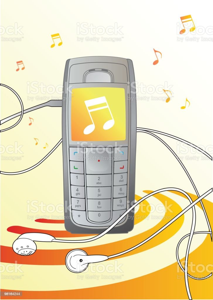 Music Cellphone - illustration royalty-free music cellphone illustration stock vector art & more images of cable