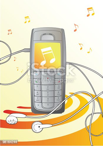 Music Cellphone Illustration Stock Vector Art & More Images of Cable 98164244