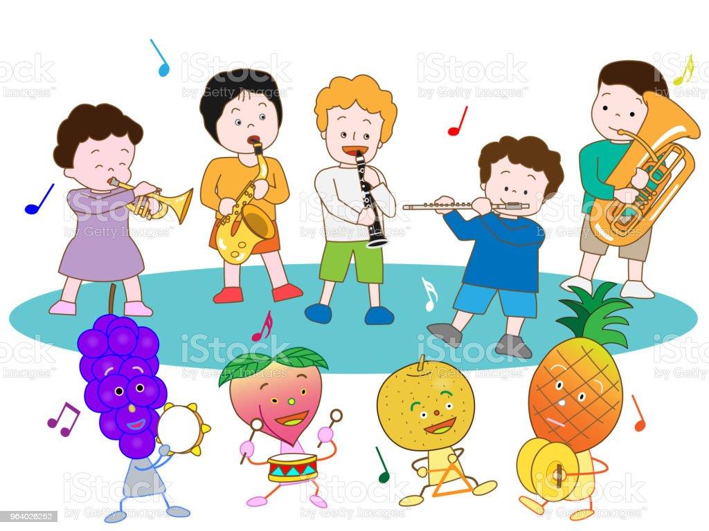 音楽の子供 - アコーディオンのロイヤリティフリーベクトルアート