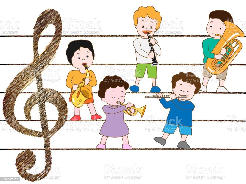 music children - Royalty-free Accordion - Instrument stock vector