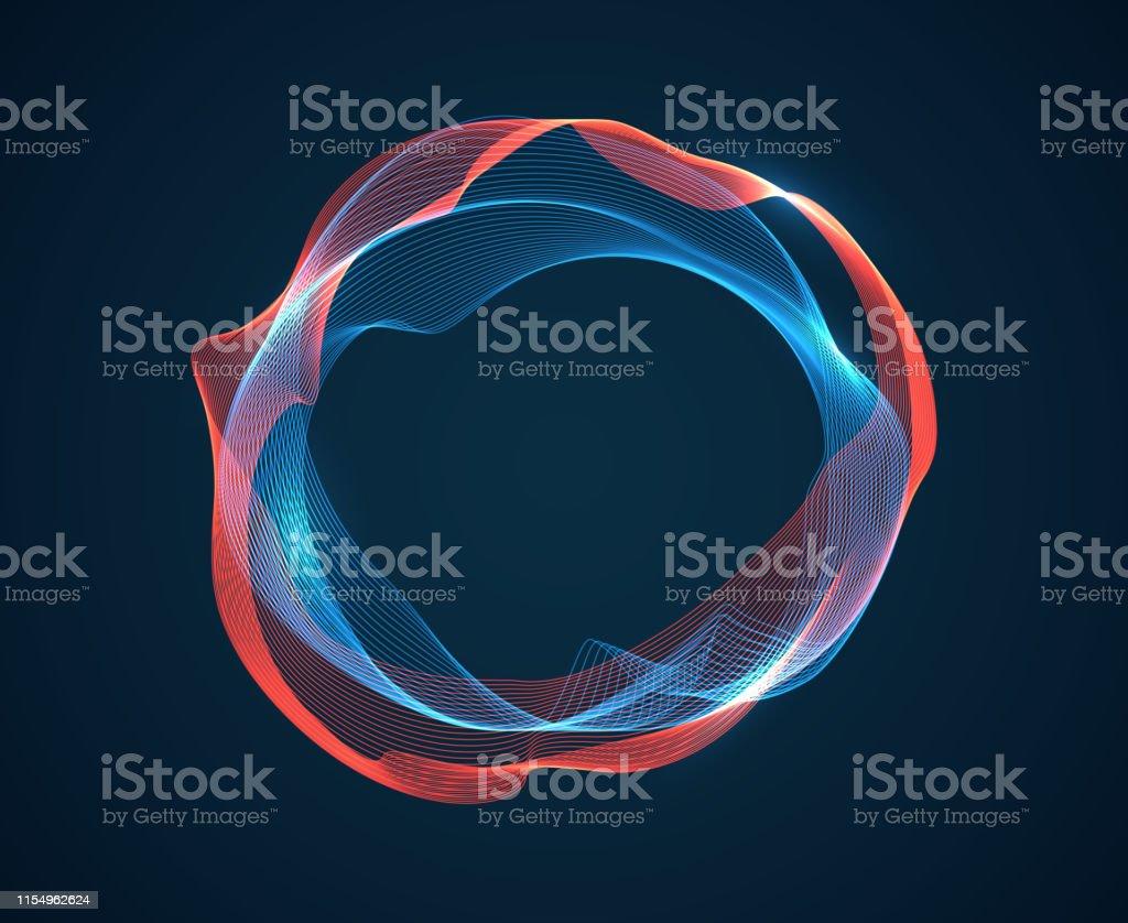 Onda do círculo da música. As ondulações batidas sonoras emitem fluxo de ondas. Linhas de néon do espectro da música. Fundo do Sumário do vetor do estúdio audio de Digitas - Vetor de Abstrato royalty-free