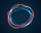 Music circle wave. Sound beat ripples emit waves flux. Music spectrum neon lines. Digital audio studio vector abstract background with round