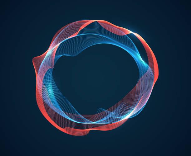 ilustrações, clipart, desenhos animados e ícones de onda do círculo da música. as ondulações batidas sonoras emitem fluxo de ondas. linhas de néon do espectro da música. fundo do sumário do vetor do estúdio audio de digitas - organic shapes