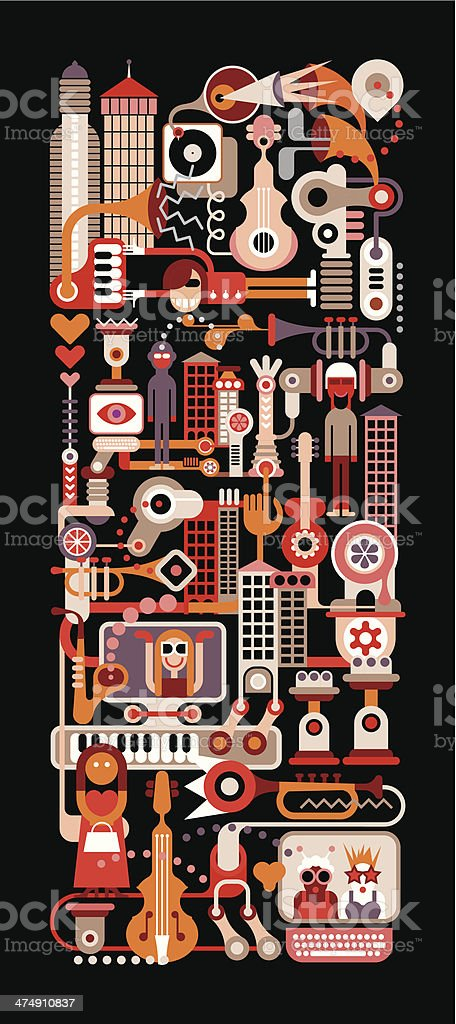 Music City Night vector art illustration
