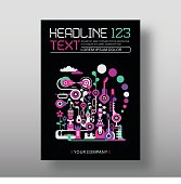 Fantastic city, Abstract art vector design, magazine cover template, size A4. Composition with abstract shapes and musical instruments isolated on a black background.