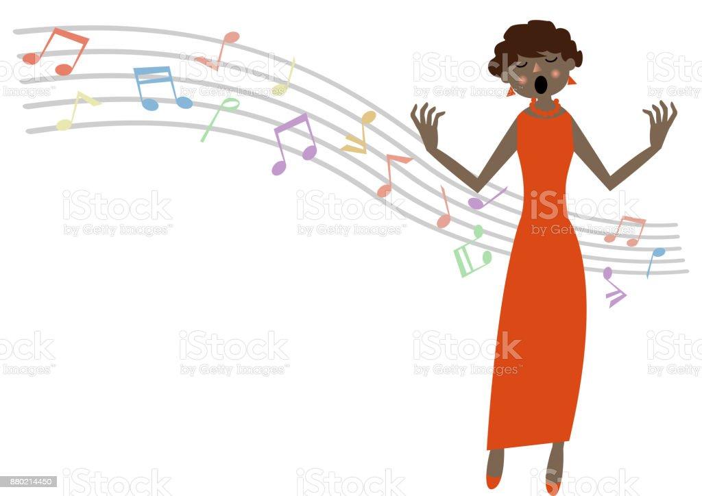 音楽クリップ アートオペラ歌手ソプラノ イラストレーションのベクター