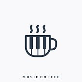 Music Coffee Illustration Vector Template. Suitable for Creative Industry, Multimedia, entertainment, Educations, Shop, and any related business.