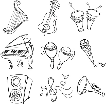 Music collection in Black and White
