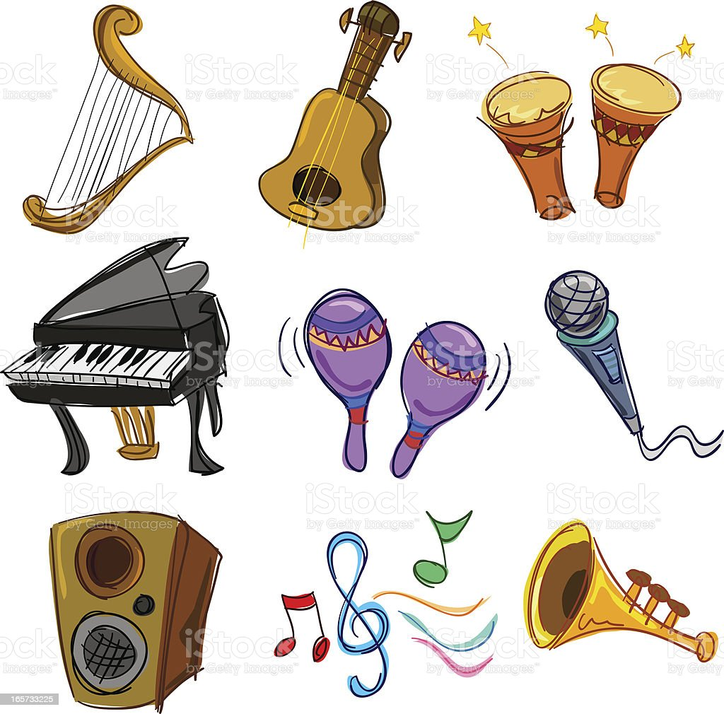 Music collection with colour royalty-free stock vector art